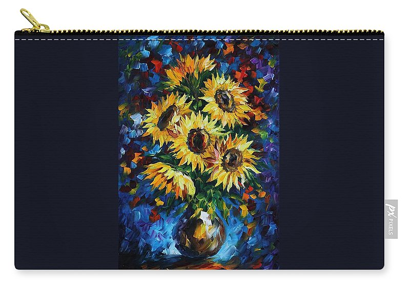 Afremov Carry-all Pouch featuring the painting Night Sunflowers by Leonid Afremov