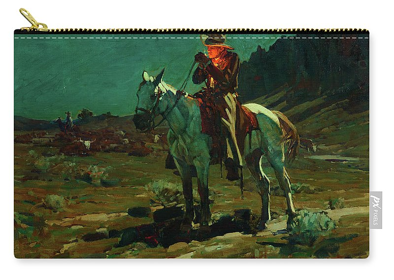 America Carry-all Pouch featuring the painting Night Time In Wyoming by Frank Tenney Johnson
