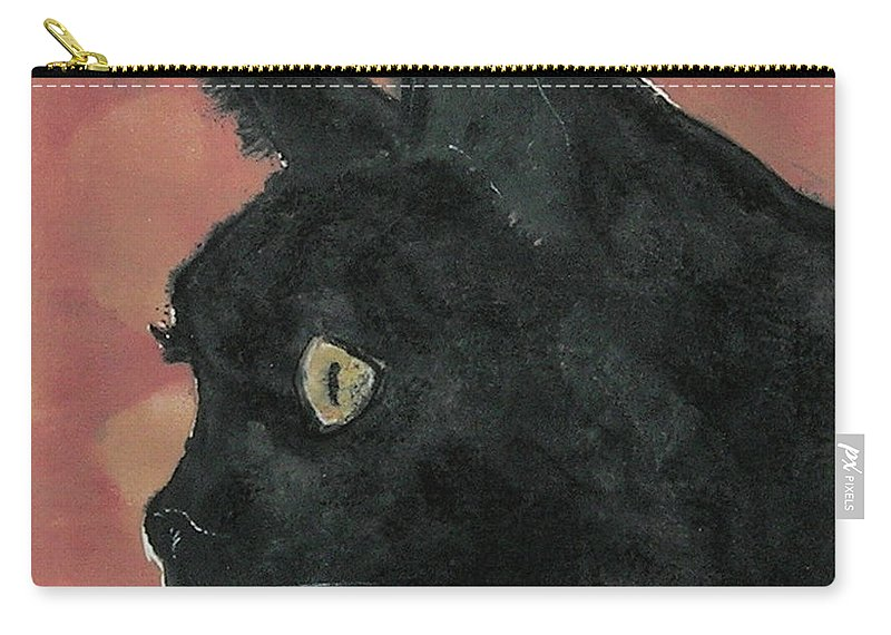 Cat Carry-all Pouch featuring the mixed media Night Vision by Cori Solomon