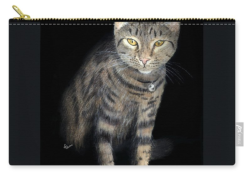 Cat Carry-all Pouch featuring the painting Night Vision by Lynn Quinn