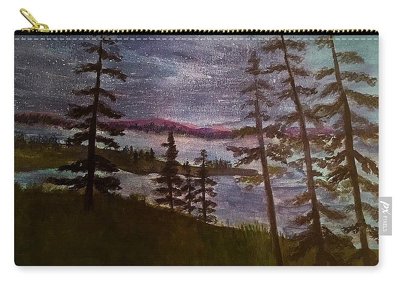 Rangely Maine Carry-all Pouch featuring the painting Nightime Rangely Lake Maine by Anne Sands