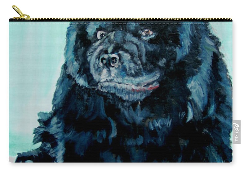 Dog Carry-all Pouch featuring the painting Nikki The Chow by Bryan Bustard