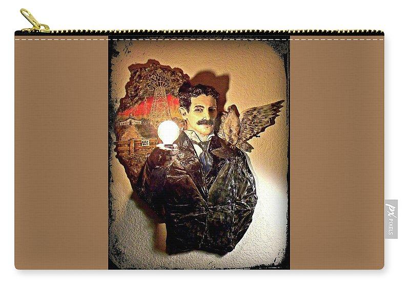 Nikola Carry-all Pouch featuring the ceramic art Nikola Tesla At Wardenclyffe by Corey Jenny