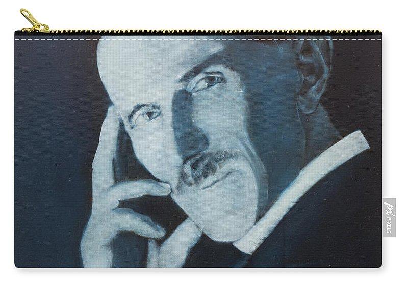 Nikola Teslafine Art Carry-all Pouch featuring the painting Nikola Tesla - Blue Portrait by Darko Topalski