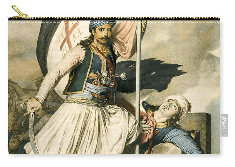Louis Dupre Carry-all Pouch featuring the drawing Nikolakis Mitropoulos Raises The Flag With The Cross At Salona On Easter Day 1821 by Louis Dupre