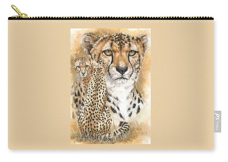 Cheetah Carry-all Pouch featuring the mixed media Nimble by Barbara Keith