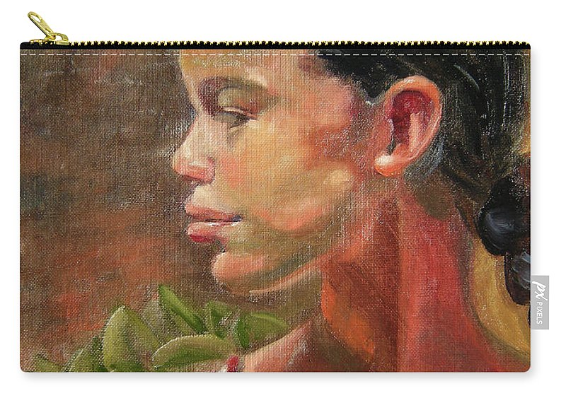 Mexico Carry-all Pouch featuring the painting Nina de Trenza by Lilibeth Andre