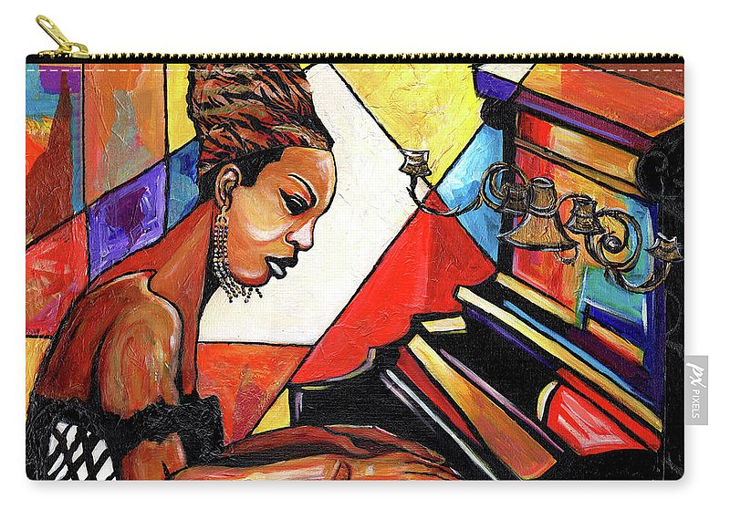 Everett Spruill Carry-all Pouch featuring the mixed media Nina Simone by Everett Spruill