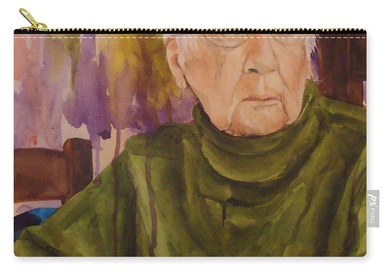 Portrait Carry-all Pouch featuring the painting Ninety Years Young by Jean Blackmer