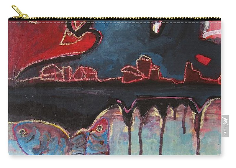 Abstract Paintings Carry-all Pouch featuring the painting Nipper by Seon-Jeong Kim