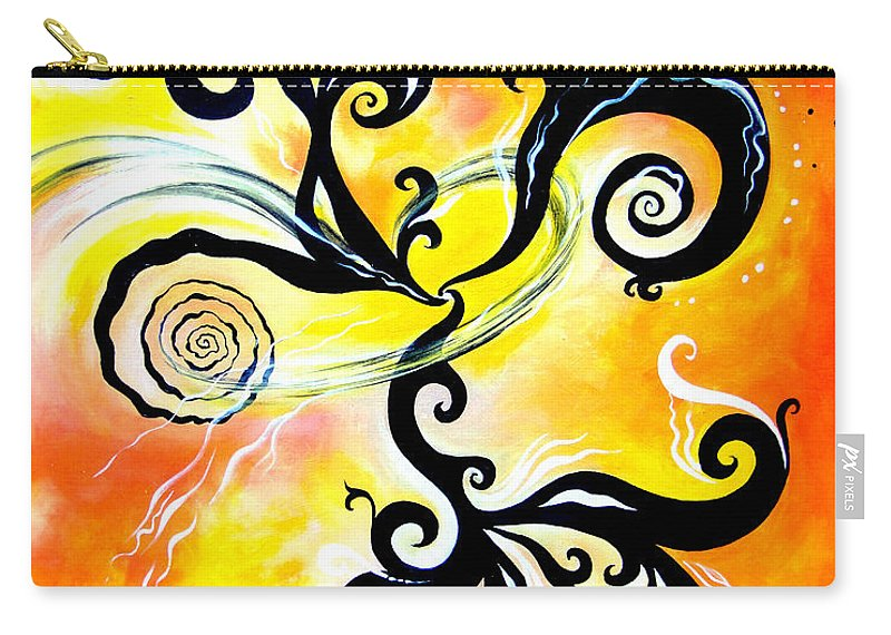 Nirvana Carry-all Pouch featuring the painting Nirvana Zen Yellow Way To Eternity by Sofia Metal Queen
