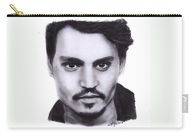 Portrait Carry-all Pouch featuring the drawing Johnny Depp Drawing By Sofia Furniel by Jul V