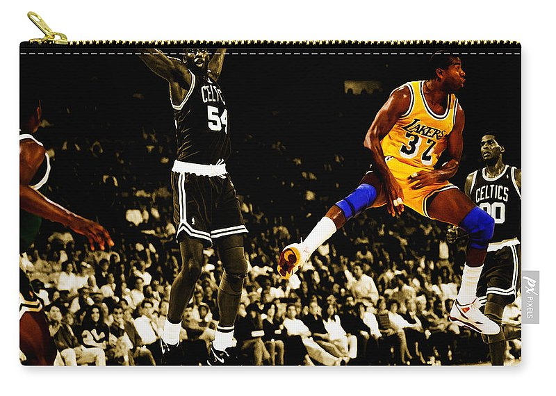 Magic Johnson Carry-all Pouch featuring the digital art No Look Pass 3 by Brian Reaves