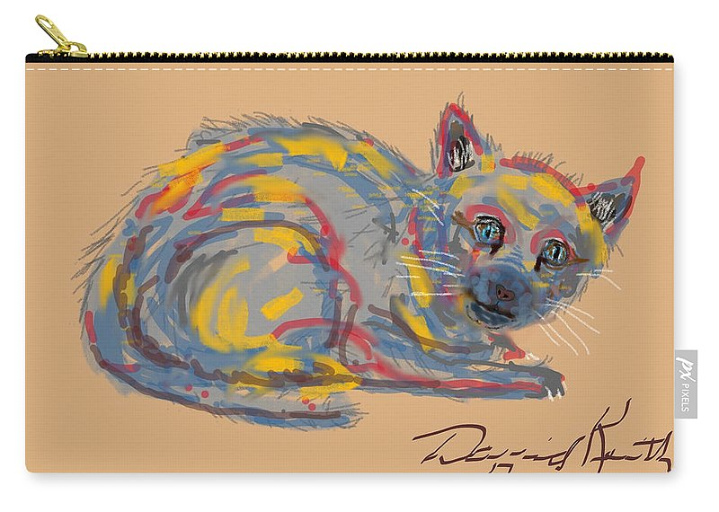 Homeless Cat Modern Art Colors Carry-all Pouch featuring the digital art No Name Cat by David R Keith