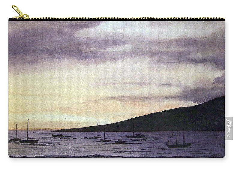 Seascape Carry-all Pouch featuring the painting No Safer Harbor Lahaina Hawaii by Brenda Owen