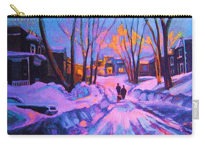 Winterscene Carry-all Pouch featuring the painting No Sidewalks by Carole Spandau