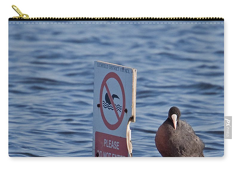 Joke Carry-all Pouch featuring the photograph No Swimming by Bob Kemp