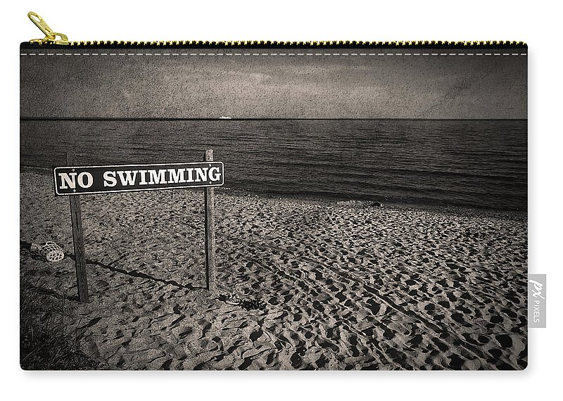 Sign Carry-all Pouch featuring the photograph No Swimming by Evelina Kremsdorf