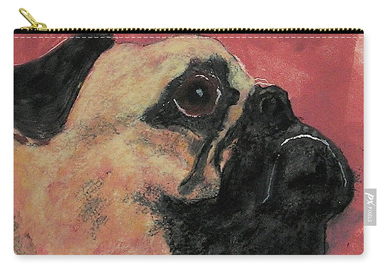 Pug Carry-all Pouch featuring the mixed media Noble Intentions by Cori Solomon