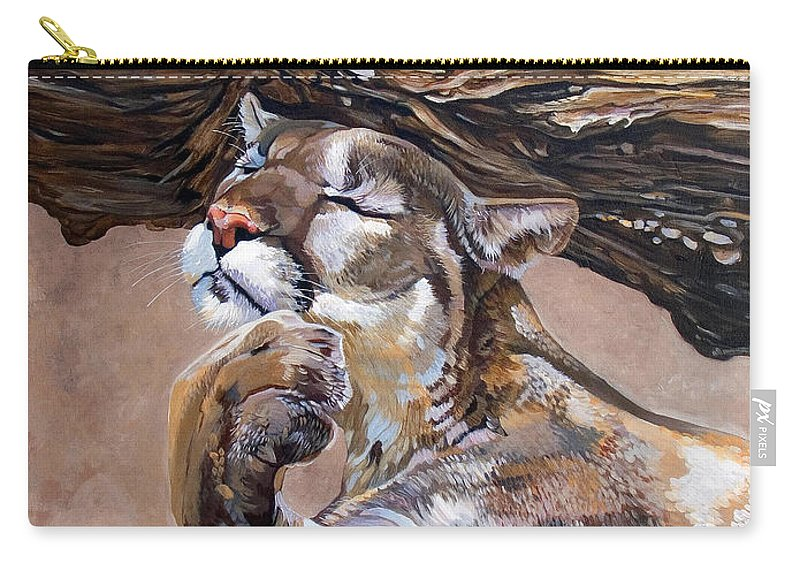 Catamount Carry-all Pouch featuring the painting Nonchalant by J W Baker