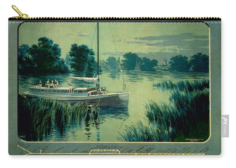 Norfolk Carry-all Pouch featuring the painting Norfolk Rivers And Broads - Vintage Illustrated Poster Of A Boat In The Waters by Studio Grafiikka