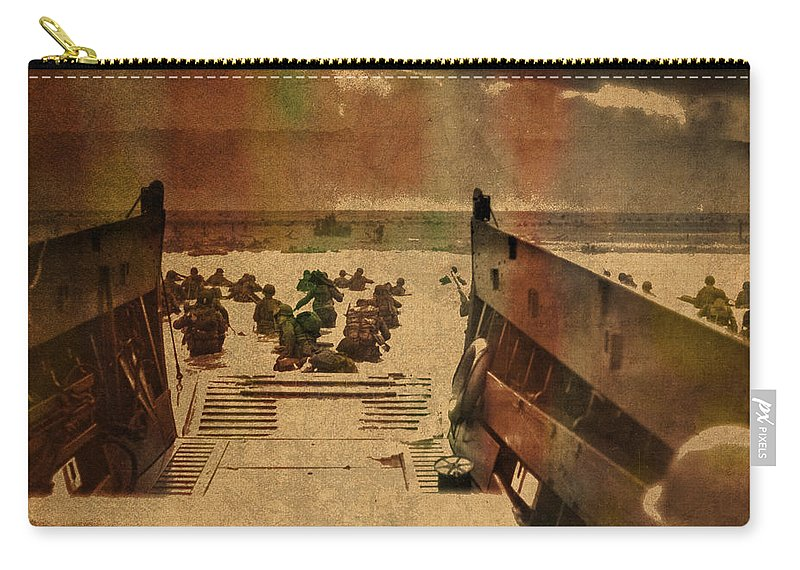 Normandy Beach Carry-all Pouch featuring the mixed media Normandy Beach On Dday World War Two Watercolor Tinted Historical Photograph On Worn Canvas by Design Turnpike