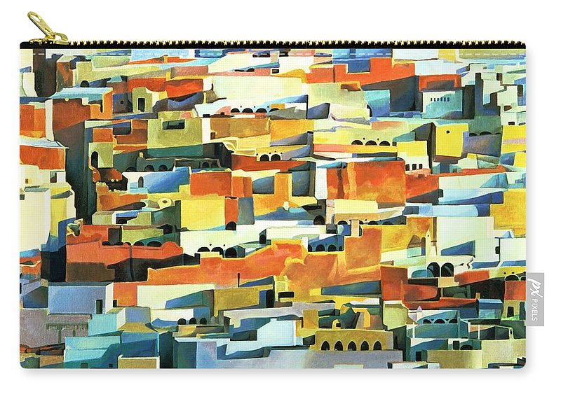 Town; Urban; Flat Roofs; Roof; Africa; Moorish Architecture; African; Townscape; North Africa; Colorful; House; Houses Carry-all Pouch featuring the painting North African Townscape by Robert Tyndall