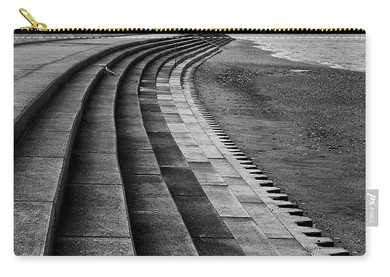 Monochromephotography Carry-all Pouch featuring the photograph North Beach, Heacham, Norfolk, England by John Edwards