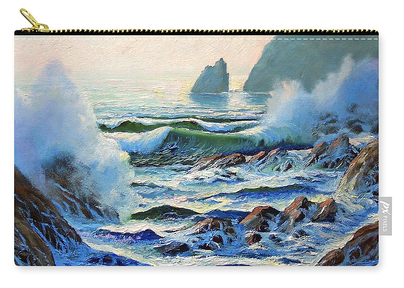 Seascape Carry-all Pouch featuring the painting North Coast Surf by Frank Wilson