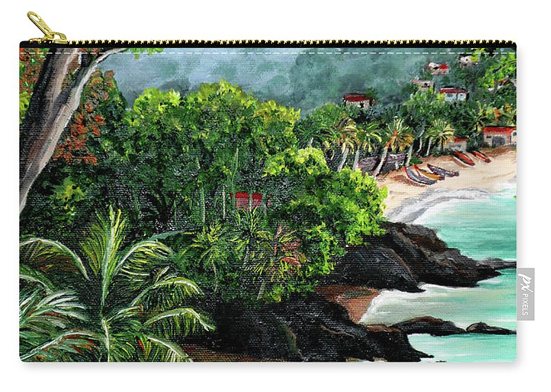 Caribbean Painting Tropical Painting Carry-all Pouch featuring the painting North Coast Tobago by Karin Dawn Kelshall- Best