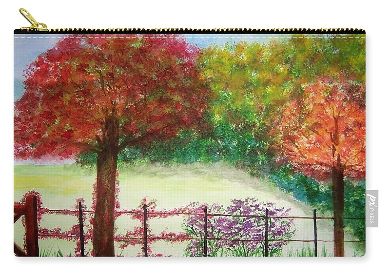 Landscape Carry-all Pouch featuring the painting North Fence by B Kathleen Fannin