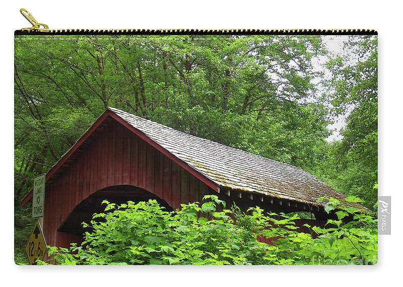 North Fork Yachats Bridge 1 Carry-all Pouch featuring the photograph North Fork Yachats Bridge 1 by Methune Hively