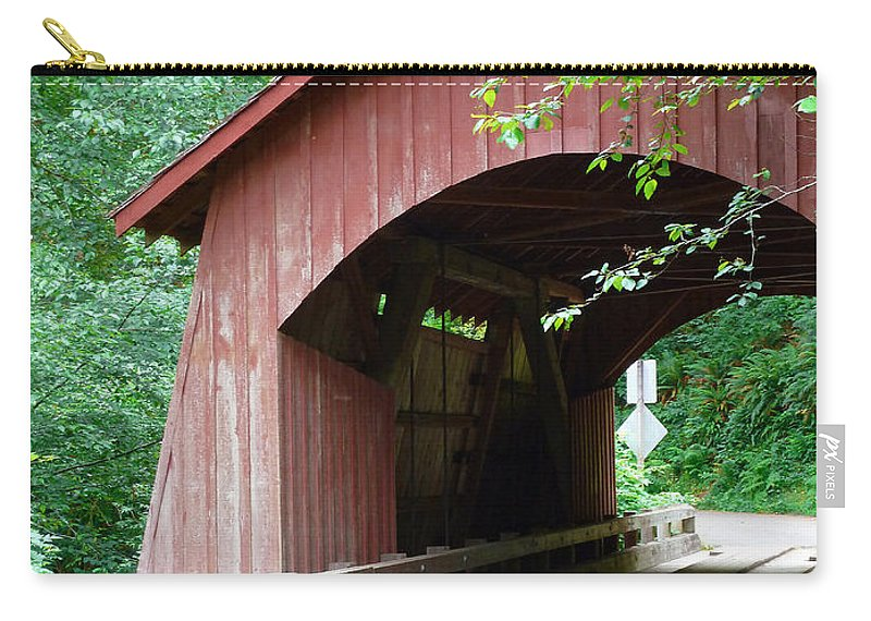 North Fork Yachats Bridge 1 Carry-all Pouch featuring the photograph North Fork Yachats Bridge 2 by Methune Hively