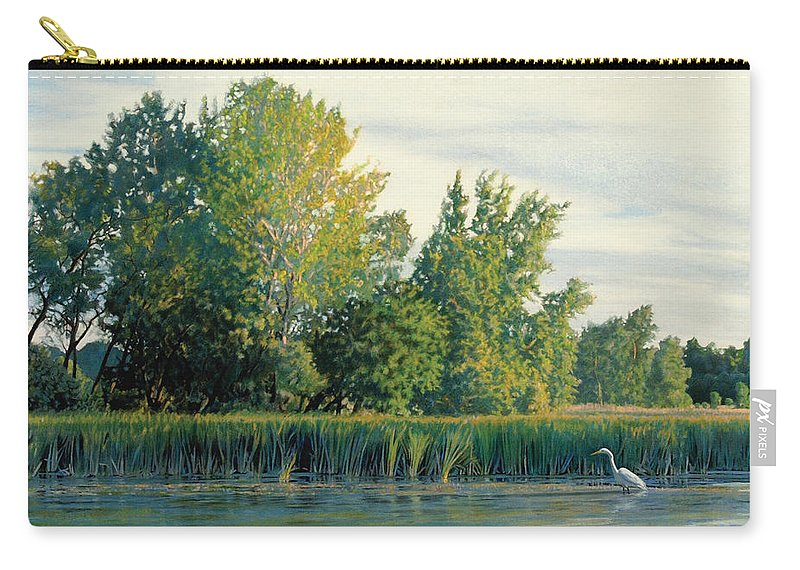 Great Egret Carry-all Pouch featuring the drawing North of the Grade-Great Egret by Bruce Morrison