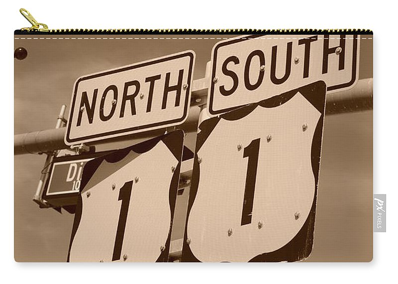 Sepia Carry-all Pouch featuring the photograph North South 1 by Rob Hans