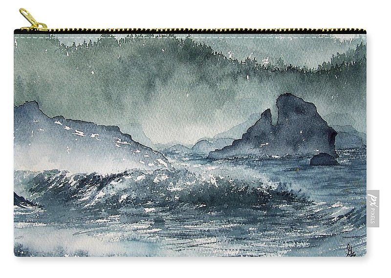 Ocean Carry-all Pouch featuring the painting Northern California Coast by Gale Cochran-Smith