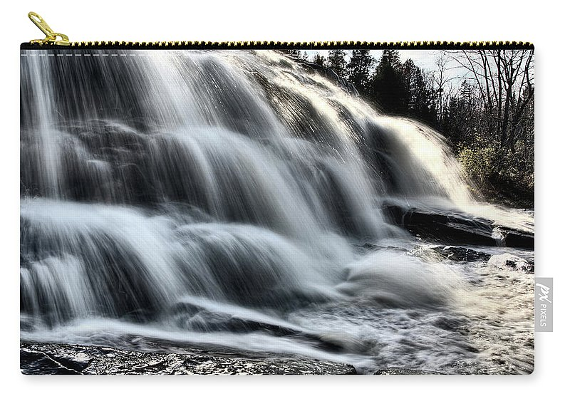 Waterfall Carry-all Pouch featuring the digital art Northern Michigan Up Waterfalls Bond Falls by Mark Duffy