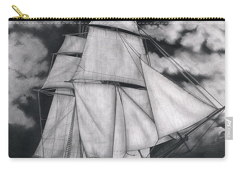 Ship Sailing Into The Northern Winds Carry-all Pouch featuring the drawing Northern Winds by Larry Lehman