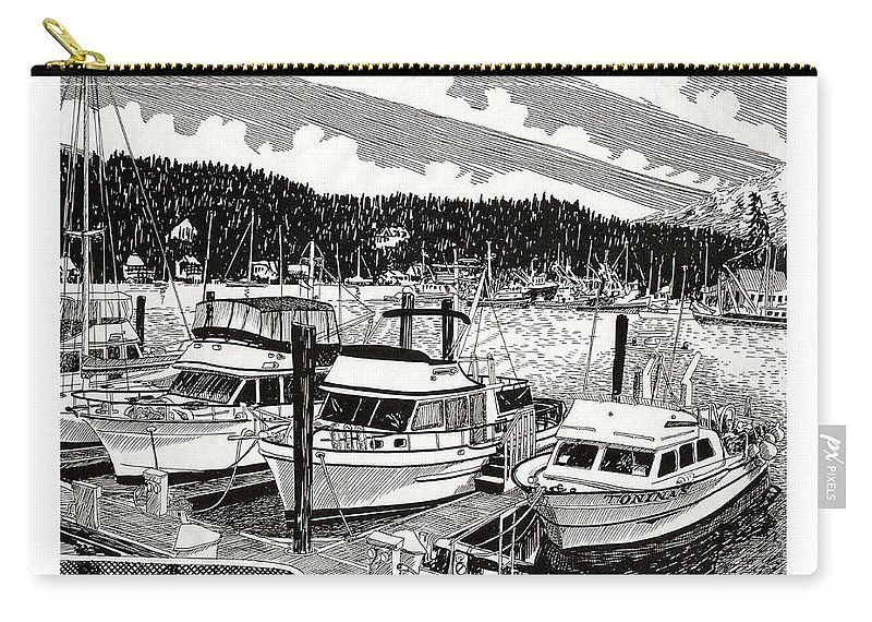 Yacht Portraits Carry-all Pouch featuring the drawing Gig Harbor Yacht Moorage by Jack Pumphrey