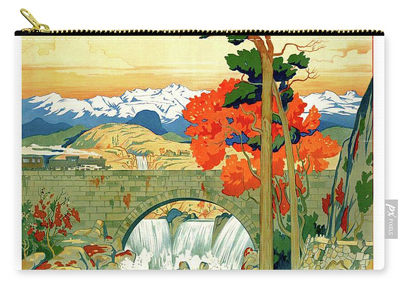 Norway Carry-all Pouch featuring the painting Norway, Landscape, Bridge, Waterfalls by Long Shot