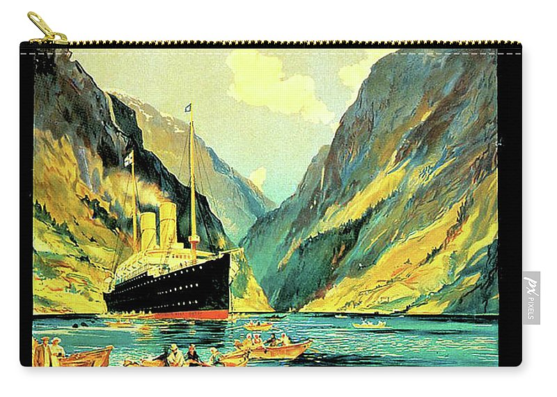 Norway Carry-all Pouch featuring the digital art Norway Orient Cruises, Vintage Travel Poster by Long Shot
