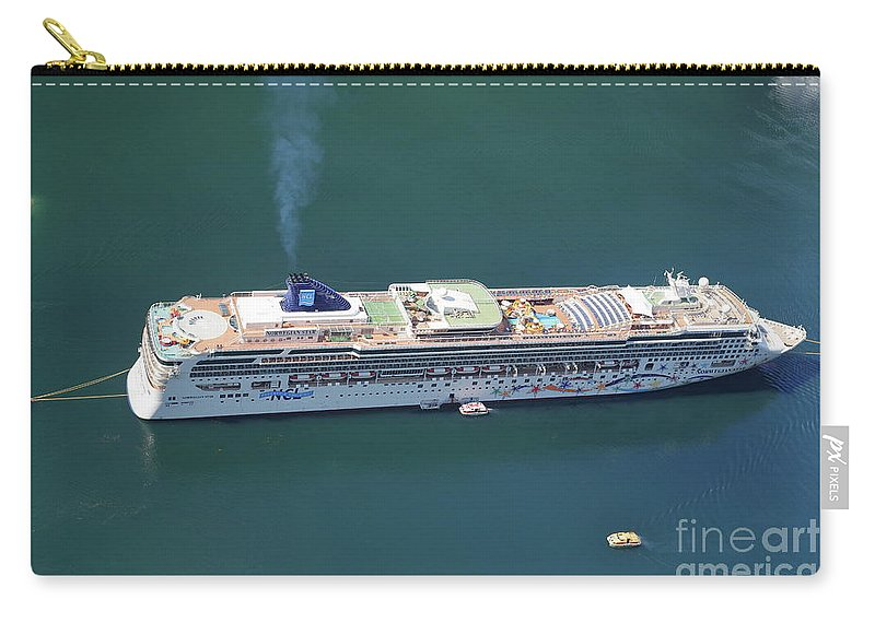 Fjord Carry-all Pouch featuring the photograph Norwegian Star In Geiranger Norway by Arild Lilleboe