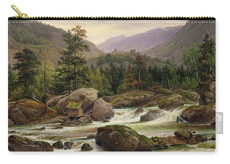 Norwegian Carry-all Pouch featuring the painting Norwegian Waterfall by Thomas Fearnley