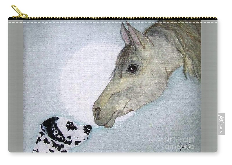 Dog Carry-all Pouch featuring the painting Nose 2 Nose by Jacki McGovern