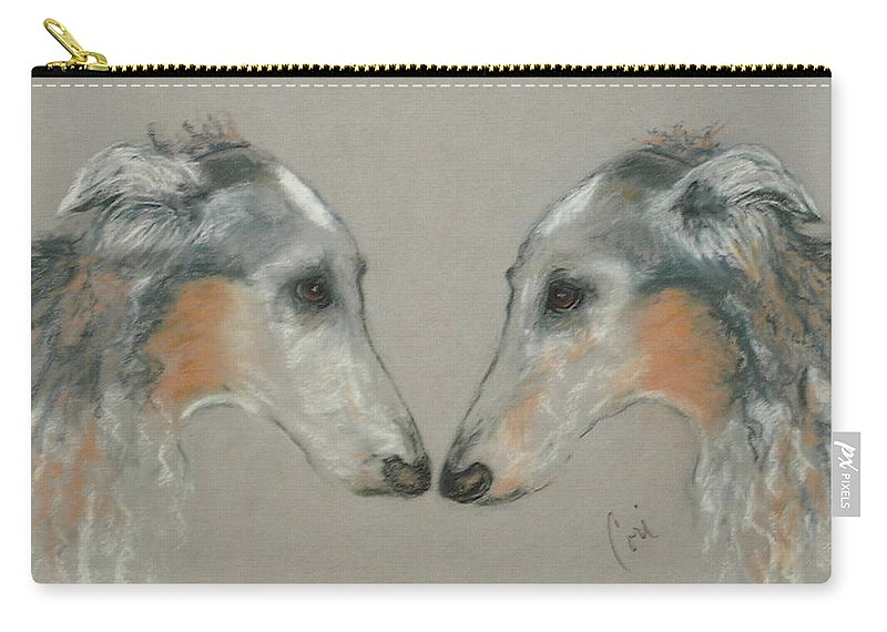 Dog Carry-all Pouch featuring the drawing Nose To Nose by Cori Solomon