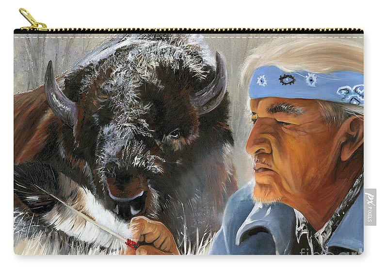 Southwest Art Carry-all Pouch featuring the painting Nothing Is Ever Forgotten by J W Baker