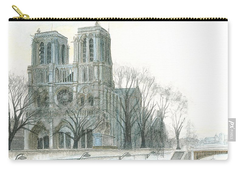 Notre Dame Carry-all Pouch featuring the painting Notre Dame Cathedral In March by Dominic White
