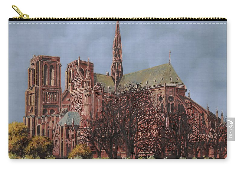 Paris Carry-all Pouch featuring the painting Notre-dame by Guido Borelli