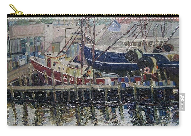 Boats Carry-all Pouch featuring the painting Nova Scotia Boats At Rest by Richard Nowak