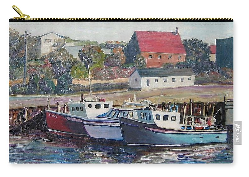 Nova Scotia Carry-all Pouch featuring the painting Nova Scotia Boats by Richard Nowak